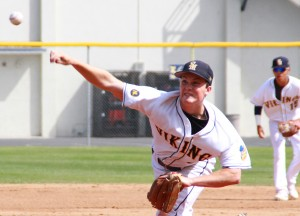 DEALING: Samohi starting pitcher Alex Gironda was sharp during Thursday's 9-0 win over Beverly Hills at home. (Daniel Archuleta daniela@smdp.com)