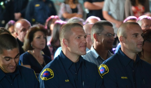 NEW DUDES: The Santa Monica Fire Department held a graduation ceremony on Saturday to welcome eight new firefighters. Several speakers, including Fire Chief Scott Ferguson, addressed the crowd of friends and family. (Matthew Hall matt@smdp.com)