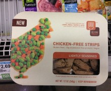 "There are more choices than ever for vegetarians with latent carnivorous instincts, from Kellogg's-owned Morningstar farms products to offerings from Beyond Meat, a new venture funded by heavyweights like Bill Gates and Twitter co-founders Biz Stone and Evan Williams. Pictured: Beyond Meat's Chicken-Free Strips ""without the cluck."" (Sid Sowder, courtesy Flickr)"