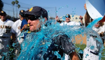 BATH TIME: Samohi head coach Kurt Schwengel was given a Gatorade bath after beating Culver City. (Morgan Genser editor@smdp.com)