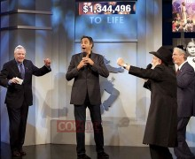 KICKING IT: Jon Voight (left) celebrates during a recent Chabad Telethon. (Photo courtesy Chabad)