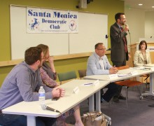 THE NOD: The Santa Monica Democrats Club endorsed Board of Education member Ben Allen (standing) for the State Senate seat being vacated by Ted Lieu, who is running for Congress. (David Mark Simpson dave@smdp.com)