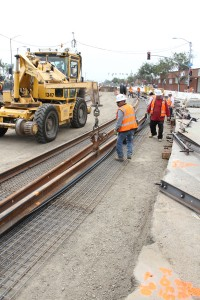Work continues on the Expo Light Rail Line. (Daniel Archuleta)