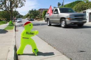 Residents on Berkeley Street have put up signs to warn drivers to slow down. (Daniel Archuleta daniela@smdp.com)