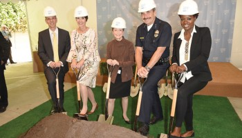 SANTA MONICA, CA - MAY 02:  (L-R) President UCLA Health David Feinberg, Cheryl Saban, Gail Abarbanel, LAPD Police Chief Charlie Beck, and actress Viola Davis attend The Rape Foundation's groundbreaking ceremony for construction of a New Stuart House for sexually abused children on May 2, 2014 in Santa Monica, California.  (Photo by Jason Merritt/Getty Images for Stuart House)