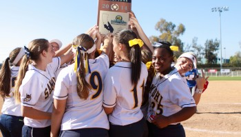 PROPS: Santa Monica High School's softball team celebrates in Irvine on Saturday after winning the CIF-Southern Section Division IX title. (Wendy Perl editor@smdp.com)