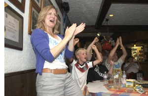 Families and friends cheer after Germany scored their fourth goal against Portugal Monday morning in the World Cup. (Paul Alvarez)