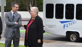 L.A. Mayor Eric Garcetti and Santa Monica Mayor Pam O'Connor attended the kick off of the new Flyaway service on Monday. (Matthew Hall)