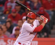Left fielder Matt Joyce sets to swing. Photo courtesy of Los Angeles Angels.