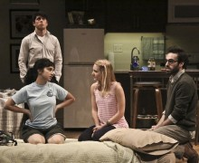 "L-R Raviv Ullman, Molly Ephraim, Lili Fuller, Ari Brand in ""Bad Jews"" at Geffen Playhouse through July 19. Photo by Michael Lamont."