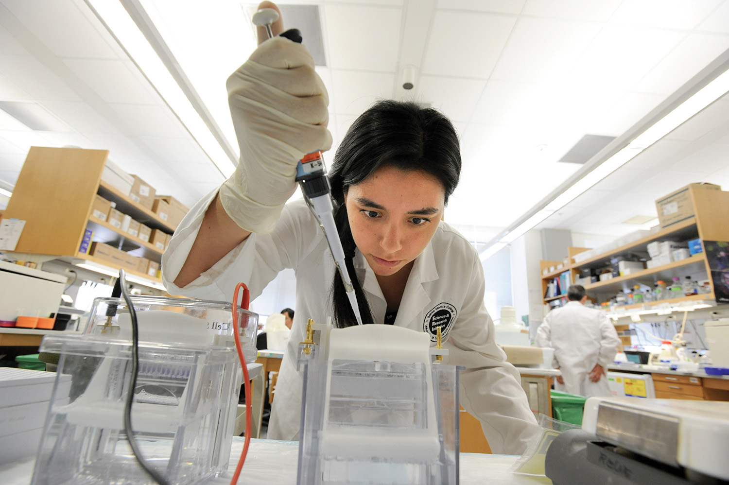 SMC student Maria Cabrera Abad works in the genetics lab at UCLA.  She is mentored by Peixiang Zhang, PhD Assistant Researcher, Department of Human Genetics, UCLA.  Maria hopes to attend UCLA in the future.  Photo by Amy Gaskin
